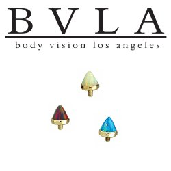BVLA 14kt Gold Cup-set 3mm Bullet-cut Threaded End Dermal Top 18g 16g 14g 12g Body Vision Los Angeles