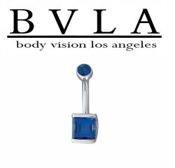 BVLA 14kt Gold Genuine Sapphire Princess Bar Bezel Navel Curved Barbell 14 gauge 14g Body Vision Los Angeles