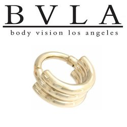 "BVLA 14kt Gold Mini Moody Cuff Nose Nostril Septum Ear Ring 18g 5/16"" Body Vision Los Angeles"