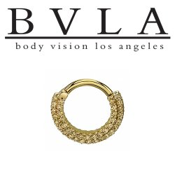 "BVLA 14kt Gold ""Double Dahlia"" Nose Nostril Septum Hinged Ring 16 Gauge 16g Body Vision Los Angeles"