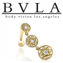 BVLA 14kt Gold Genoa III Genuine Diamond Dangle Navel Curved Barbell 14 Gauge 14g Body Vision Los Angeles
