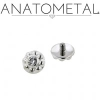 Anatometal Solid Silver Internally Threaded 3.5mm Ipsa Gem End 18g 16g 14g 12g