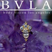 "BVLA 14kt Gold Oval ""Sarai\"" Threaded Gem End Dermal Top 18g 16g 14g 12g Body Vision Los Angeles"