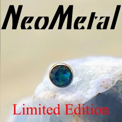 "18 Gauge 18g NeoMetal Limited Ed. Threadless Titanium Bezel-set Faceted Black Opal Gem End 2.5mm ""Press-fit"""
