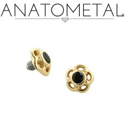 Anatometal 18kt Gold Threaded 3.5mm Tama Gem End 18g 16g 14g 12g