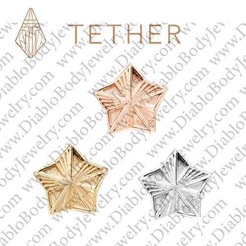 "Tether 14Kt Gold 5-Point Star Threadless End 18 Gauge 18g ""Press-fit"" - Click Image to Close"