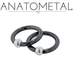 Anatometal Niobium Captive Bead Ring with Stainless Steel Bead 4 Gauge 4g