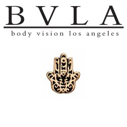 "BVLA 14kt Gold ""Hamsa Hand"" Threaded End Dermal Top 18g 16g 14g 12g Body Vision Los Angeles"