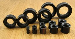"Double Flared Arang ""Ebony"" Wood Eyelets 8g-1&1/2"" (Pair) 3mm-38mm"