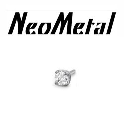 "18 Gauge 18g NeoMetal Threadless Titanium 1.5mm Prong-Set Genuine Diamond End ""Press-fit"""