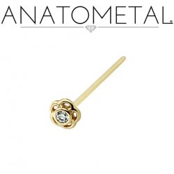 Anatometal 18kt Gold Tama Nostril Screw Nose Ring 1.5mm Gem 20 Gauge 18 Gauge 20g 18g