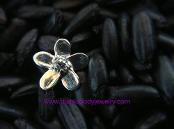 Anatometal Solid Silver Internally Threaded Plumeria Flower End 18g 16g 14g 12g