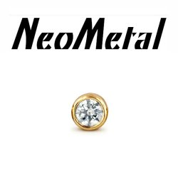 "18 Gauge 18g NeoMetal Threadless 2.5mm Bezel-set Genuine Diamond End 14kt 14 Karat Gold ""Press-fit"""