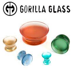 "Gorilla Glass Solid Trumpet Plugs 0g to 2"" (Pair)"