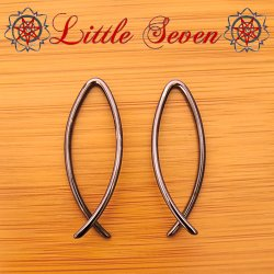 "Little Seven Niobium Small ""Icthtys"" Hanging Designs 12 Gauge 12g (Pair)"