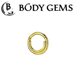 "Body Gems 14kt Gold ""Double Trouble"" Clicker Septum Daith Ring 14 Gauge 14g"