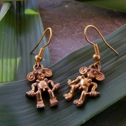 Pre-Columbian Design Bronze Man Figure Earrings #1 (Pair)