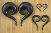 "Organic Black Horn Tail Spirals 12g-1"" (Pair) 2mm-25.5mm"