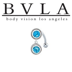 BVLA 14kt Gold Madrid Swiss Blue Topaz Navel Curved Barbell 14 gauge 14g Body Vision Los Angeles