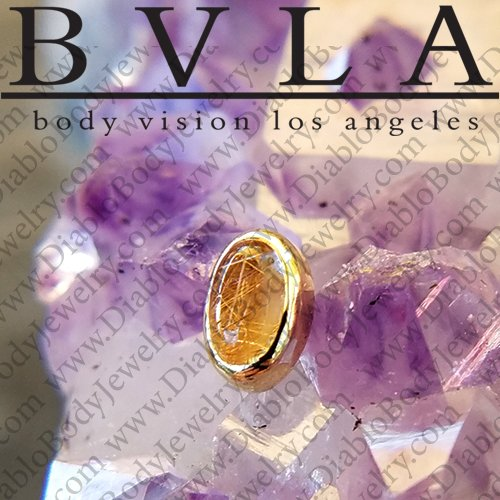 BVLA 14kt Gold Bezel-set Oval Cabochon 5mm x 3mm Threaded End Dermal Top 18g 16g 14g 12g Body Vision Los Angeles - Click Image to Close