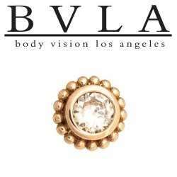 "BVLA 14kt Gold ""Beaded Choctaw"" 6mm Threaded End Dermal Top 3mm Diamond 18g 16g 14g 12g Body Vision Los Angeles"