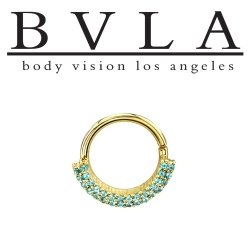 "BVLA 14kt Gold ""Double Dahlia"" Nose Nostril Septum Seam Ring 16 Gauge 16g Body Vision Los Angeles"