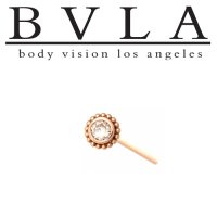 "BVLA ""Beaded Choctaw"" 5mm Nostril Screw Nose Bone BVLA 14kt Gold 2mm Genuine Diamond 20g 18g Body Vision Los Angeles"