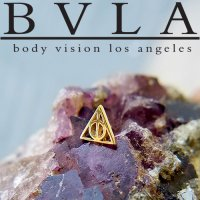 "BVLA 14kt Gold ""Deathly Hallows"" Threaded End Dermal Top 18g 16g 14g 12g Body Vision Los Angeles"
