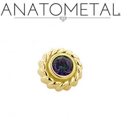 Anatometal 18kt Gold Purity Threaded End 3.0mm Mystic Topaz 18g 16g 14g 12g