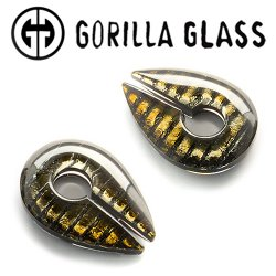 "Gorilla Glass Iridescent Keyholes 0.9oz Ear Weights 3/4"" And Up (Pair)"