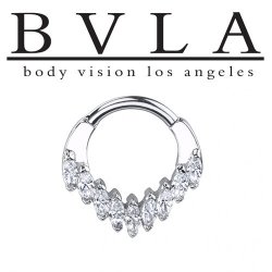 "BVLA 14kt Gold ""Cascada"" Nose Nostril Septum Ring 16g Body Vision Los Angeles"