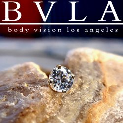 "BVLA 14kt Gold 4 Prong-set ""Flawless"" Diamond Threadless End 18g 16g 14g Body Vision Los Angeles ""Press-fit"""