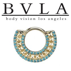 "BVLA 14kt Gold ""Hydra"" Nose Nostril Septum Ring 16g Body Vision Los Angeles"