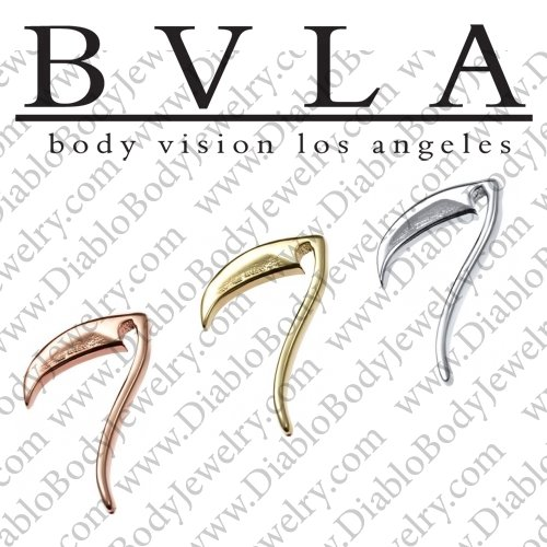 "BVLA 14kt Gold ""Scythe"" Threaded End Dermal Top 18g 16g 14g 12g Body Vision Los Angeles - Click Image to Close"