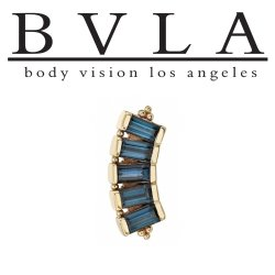 "BVLA 14kt Gold ""Baguette Panaraya"" Threaded Gem End Dermal Top18g 16g 14g 12g Body Vision Los Angeles"