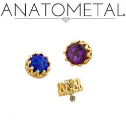 Anatometal 18kt Gold King Threaded End 3mm Gem 18g 16g 14g 12g
