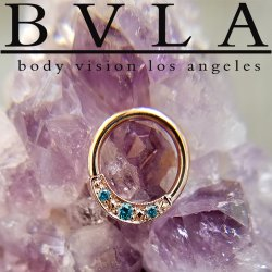 "BVLA 14kt Gold ""Lacey"" Nose Nostril Septum Seam Ring 18 Gauge 18g Body Vision Los Angeles"