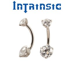 Intrinsic Body Titanium Navel Curve Prong-set 5mm/7mm Faceted Gems 14 Gauge 12 Gauge 14g 12g
