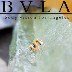 "BVLA 14Kt Gold ""Money Baby"" Dollar Sign Threaded End Dermal Top 18g 16g 14g 12g Body Vision Los Angeles"