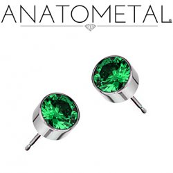 Anatometal Titanium 6mm Bezel-set Gem Earrings (Pair)