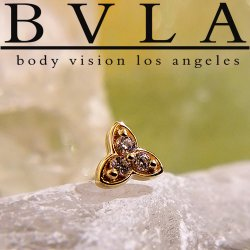 "BVLA 14Kt Gold ""Integrity"" Threaded End Dermal Top 18g 16g 14g 12g Body Vision Los Angeles"