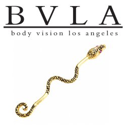 "BVLA 14kt Gold ""Serpent"" Industrial Barbell with Gem Eyes 16 gauge 16g Body Vision Los Angeles"