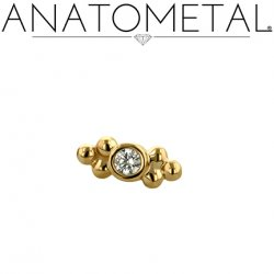 Anatometal 18kt Gold 2 Cluster Sabrina End 2mm gem 18g 16g 14g 12g