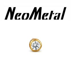 "18 Gauge 18g NeoMetal Threadless 2.0mm Bezel-set Genuine Diamond End 14kt 14 Karat Gold ""Press-fit"""
