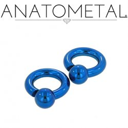 Anatometal Titanium Screw on Ball Ring 10 Gauge 8 Gauge 6 Gauge 10g 8g 6g