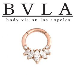 "BVLA 14kt Gold ""Tesseract"" Genuine Diamond Nose Nostril Septum Ring 14g Body Vision Los Angeles"