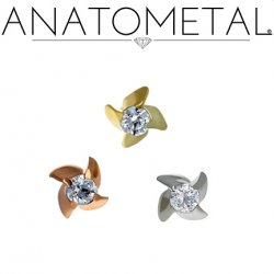 Anatometal 18kt Gold Mini Pinwheel Threaded End 1.5mm Gem 18g 16g 14g 12g