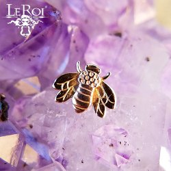 "LeRoi 14kt Gold ""Bee"" Threadless End 18 Gauge 18g ""Press-fit"""