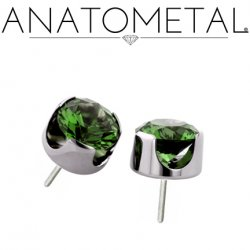 Anatometal Titanium Threadless 5mm Prong-Set Faceted Gem End 18g 16g 14g (25g Pin Universal) Threadless Posts Press-fit