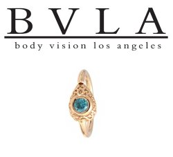 "BVLA 14kt Gold ""Nanda Pear"" Nose Nostril Septum Fixed Bead Seam Ring 18g Body Vision Los Angeles"